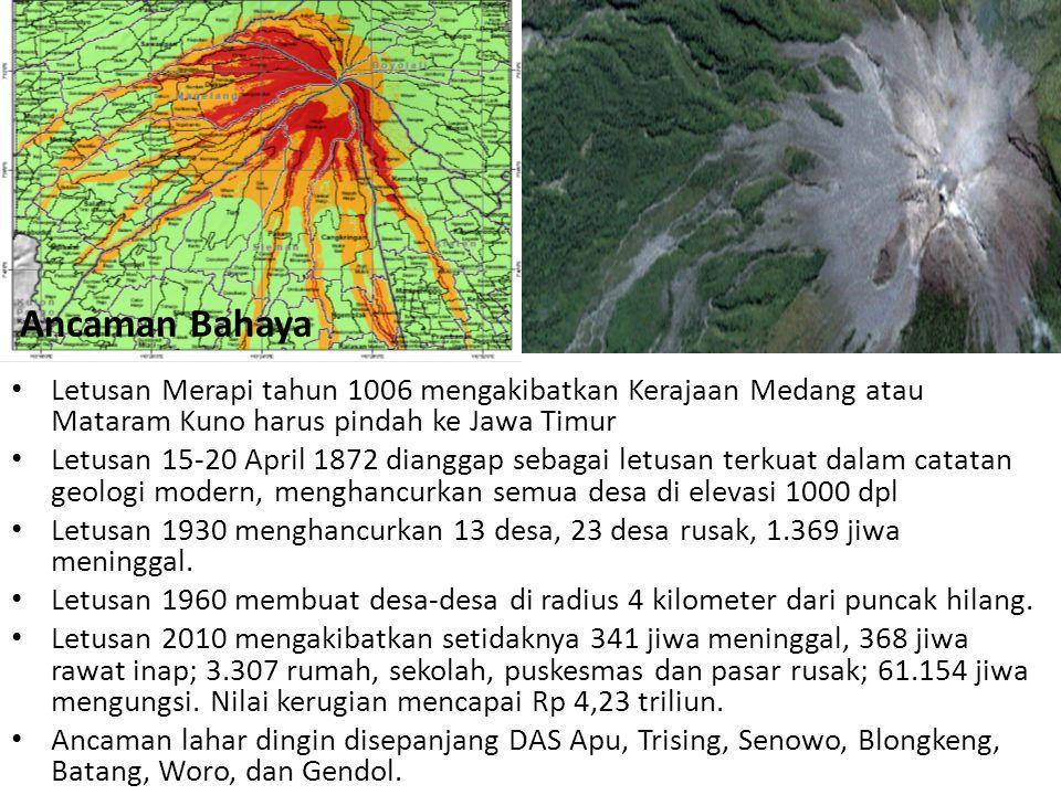 • Letusan Merapi tahun 1006 mengakibatkan Kerajaan Medang atau Mataram Kuno harus pindah ke Jawa Timur • Letusan 15-20 April 1872 dianggap sebagai let