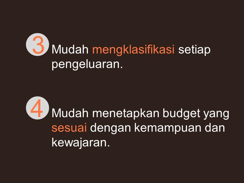 Mudah mengklasifikasi setiap pengeluaran. 3 Mudah menetapkan budget yang sesuai dengan kemampuan dan kewajaran. 4