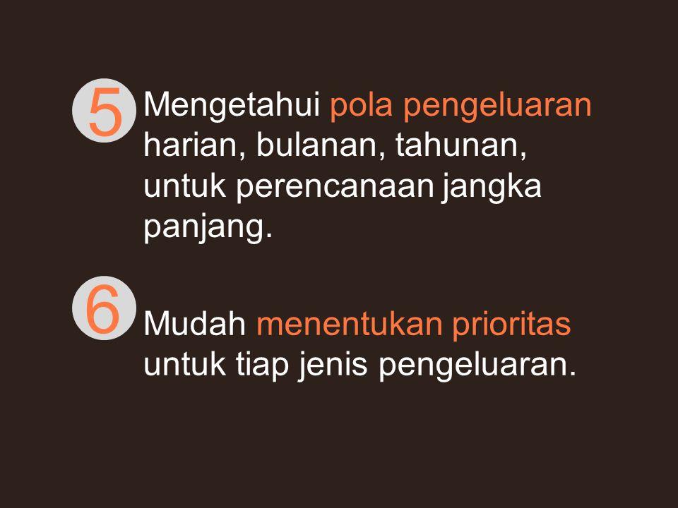 Mengetahui pola pengeluaran harian, bulanan, tahunan, untuk perencanaan jangka panjang. 5 Mudah menentukan prioritas untuk tiap jenis pengeluaran. 6