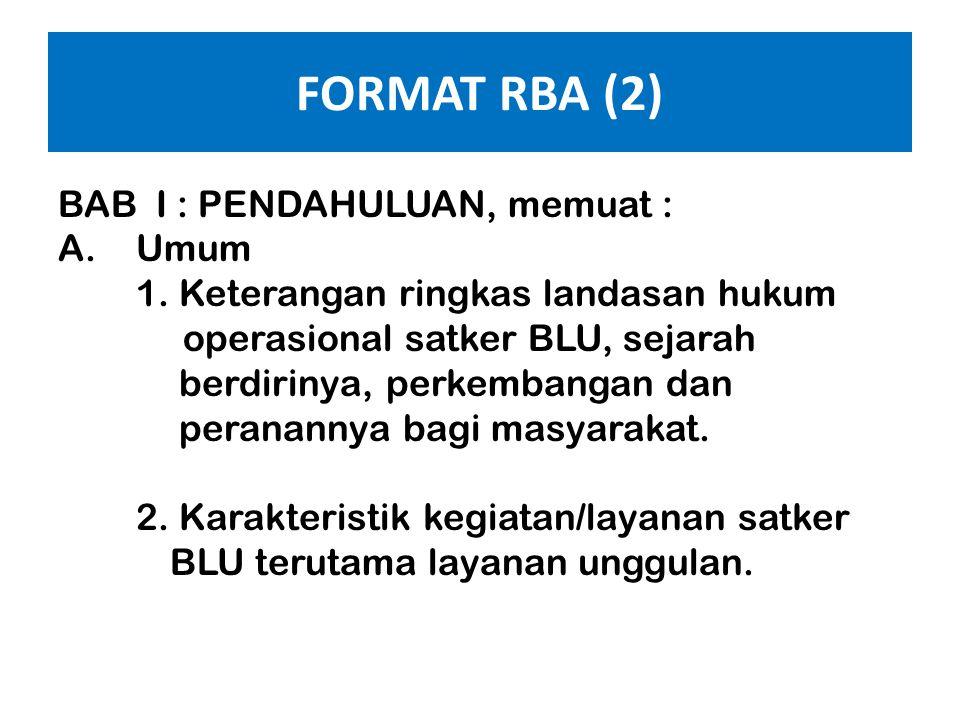 FORMAT RBA (1) Ringkasan Eksekutif : • Memuat uraian ringkas mengenai kinerja satker BLU tahun berjalan (20XX-1) dan target kinerja tahun 20XX yang he