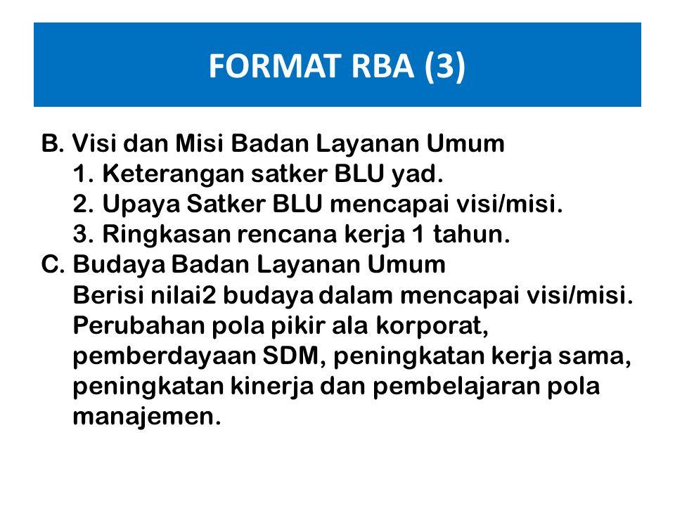 FORMAT RBA (2) BAB I : PENDAHULUAN, memuat : A.Umum 1. Keterangan ringkas landasan hukum operasional satker BLU, sejarah berdirinya, perkembangan dan
