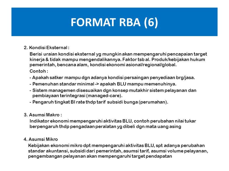 FORMAT RBA (5) BAB II : Kinerja BLU Tahun Berjalan 20XX-1 dan RBA Tahun 20XX, memuat : A.Gambaran Kondisi Satker BLU 1. Kondisi Internal : Berisi urai