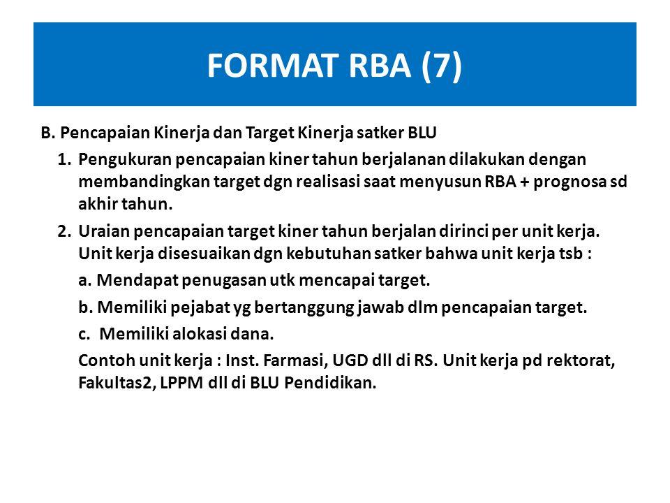 FORMAT RBA (6) 2. Kondisi Eksternal : Berisi uraian kondisi eksternal yg mungkin akan mempengaruhi pencapaian target kinerja & tidak mampu mengendalik