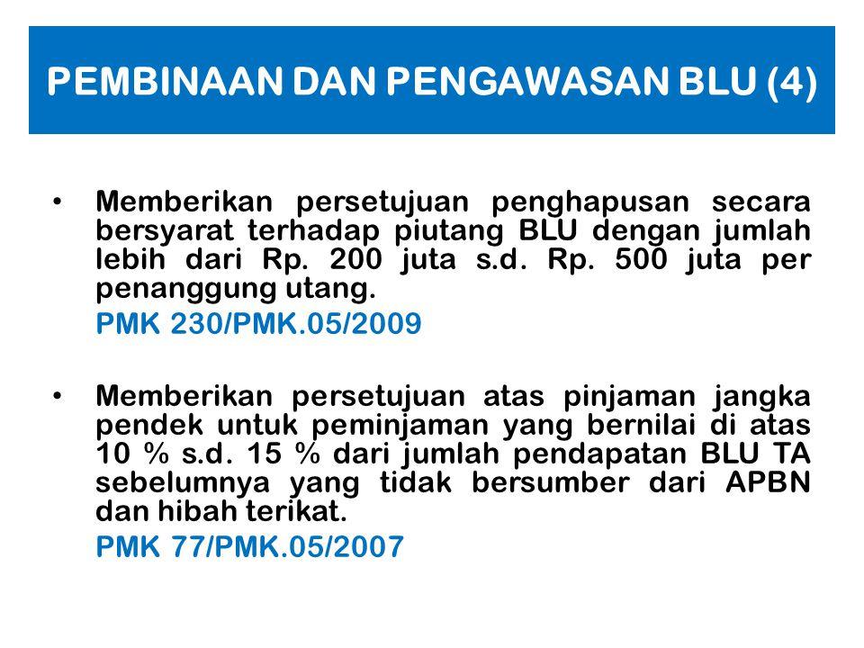 PEMBINAAN DAN PENGAWASAN BLU (3) • Memberikan masukan, saran, atau tanggapan atas laporan keuangan dan laporan kinerja BLU kepada pejabat pengelola BL