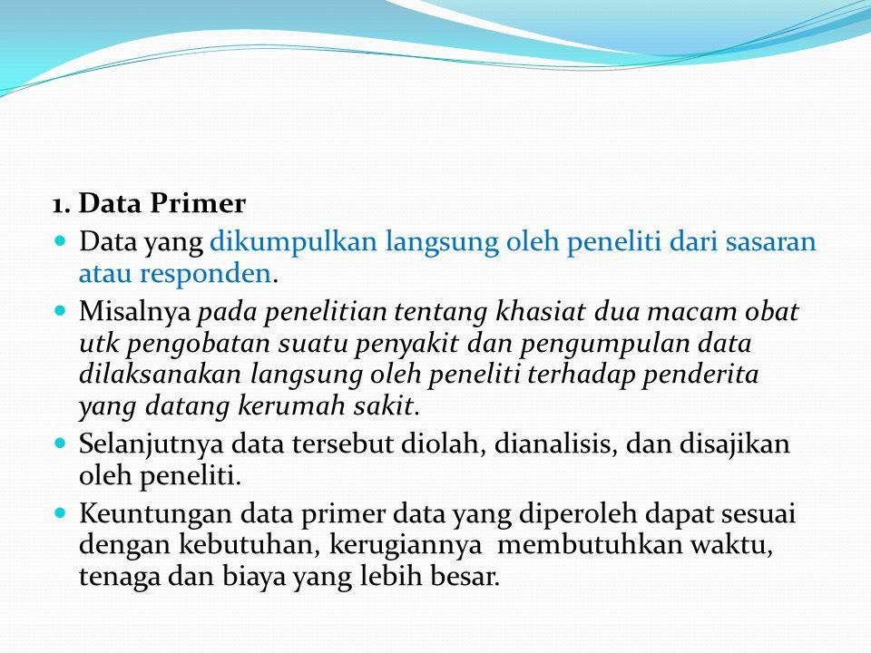 1. Data Primer  Data yang dikumpulkan langsung oleh peneliti dari sasaran atau responden.  Misalnya pada penelitian tentang khasiat dua macam obat u