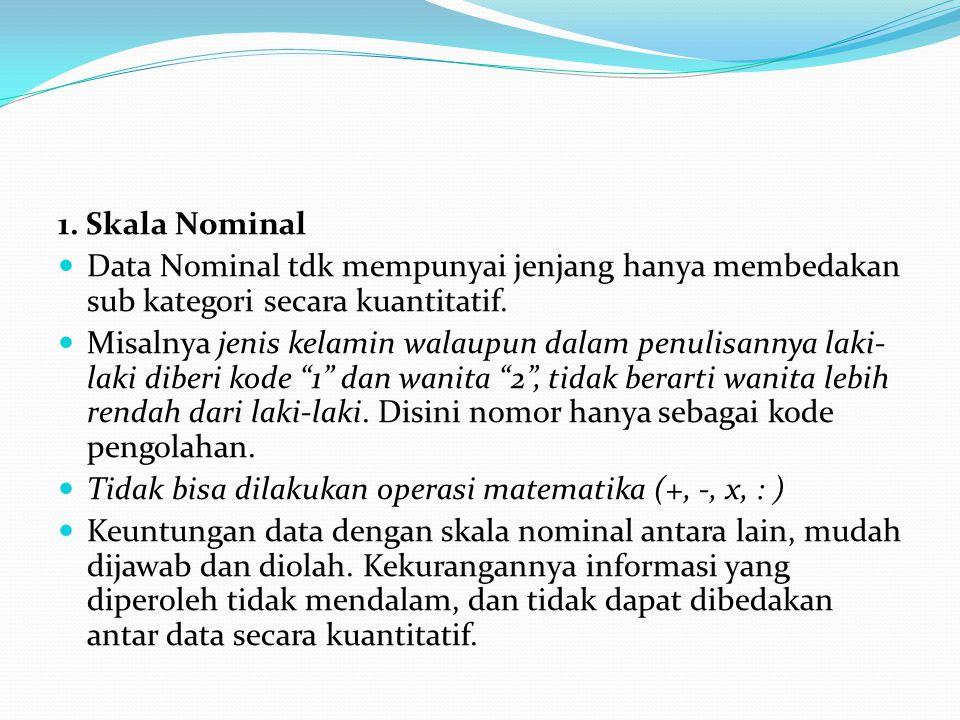 1. Skala Nominal  Data Nominal tdk mempunyai jenjang hanya membedakan sub kategori secara kuantitatif.  Misalnya jenis kelamin walaupun dalam penuli