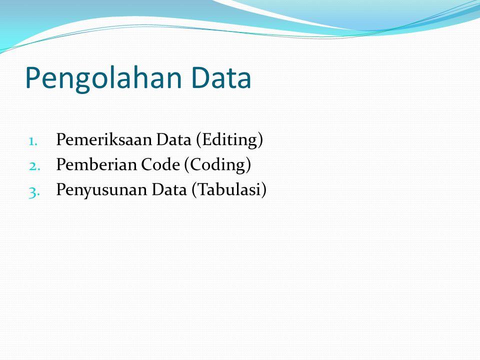 Pengolahan Data 1. Pemeriksaan Data (Editing) 2. Pemberian Code (Coding) 3. Penyusunan Data (Tabulasi)