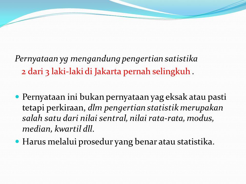 Pernyataan yg mengandung pengertian satistika 2 dari 3 laki-laki di Jakarta pernah selingkuh.  Pernyataan ini bukan pernyataan yag eksak atau pasti t