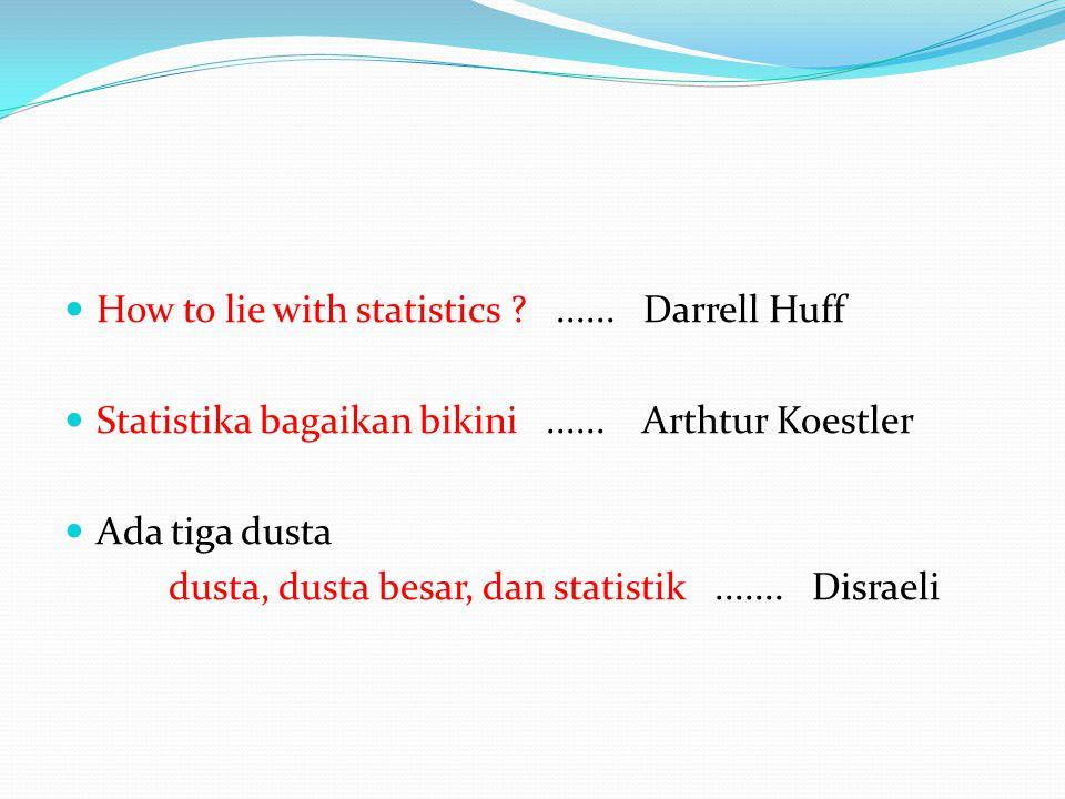  How to lie with statistics ?...... Darrell Huff  Statistika bagaikan bikini...... Arthtur Koestler  Ada tiga dusta dusta, dusta besar, dan statist