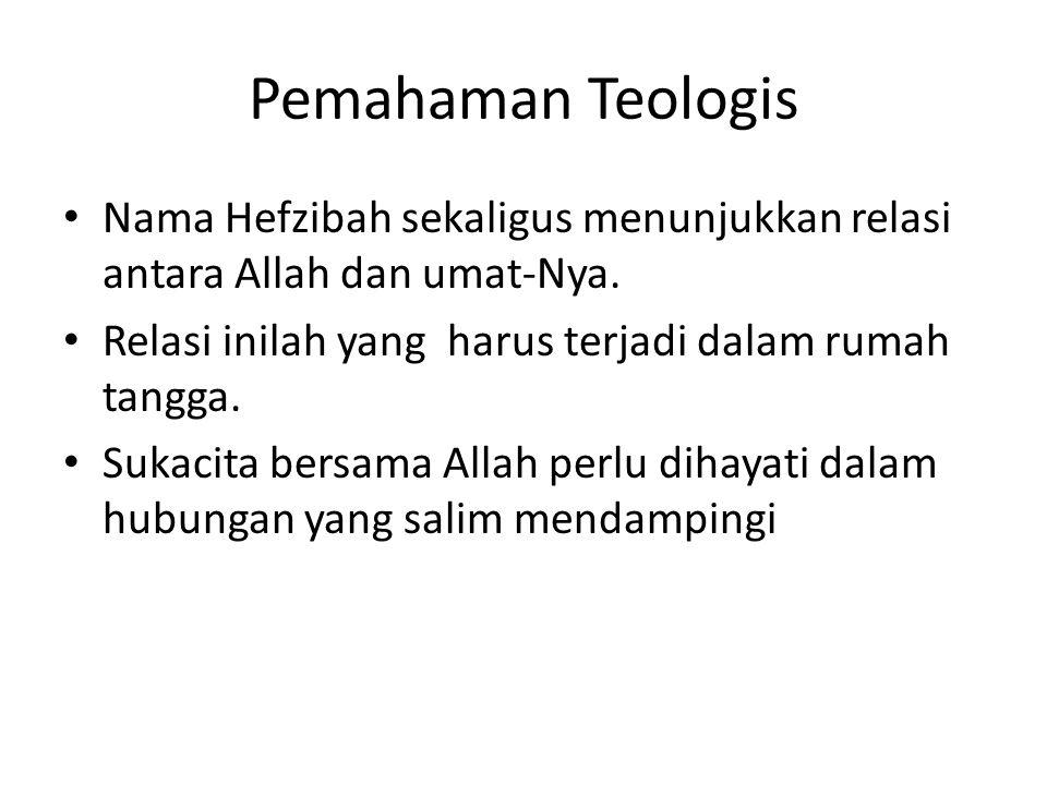Pemahaman Teologis • Nama Hefzibah sekaligus menunjukkan relasi antara Allah dan umat-Nya. • Relasi inilah yang harus terjadi dalam rumah tangga. • Su