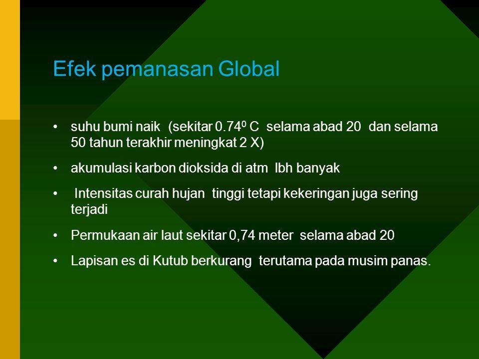 Efek pemanasan Global •suhu bumi naik (sekitar 0.74 0 C selama abad 20 dan selama 50 tahun terakhir meningkat 2 X) •akumulasi karbon dioksida di atm l