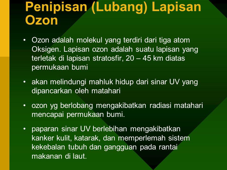 Penipisan (Lubang) Lapisan Ozon •Ozon adalah molekul yang terdiri dari tiga atom Oksigen. Lapisan ozon adalah suatu lapisan yang terletak di lapisan s
