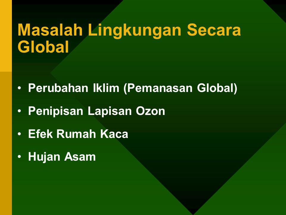 Masalah Lingkungan Secara Global •Perubahan Iklim (Pemanasan Global) •Penipisan Lapisan Ozon •Efek Rumah Kaca •Hujan Asam