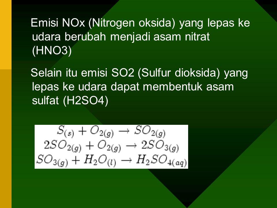 Emisi NOx (Nitrogen oksida) yang lepas ke udara berubah menjadi asam nitrat (HNO3) Selain itu emisi SO2 (Sulfur dioksida) yang lepas ke udara dapat me