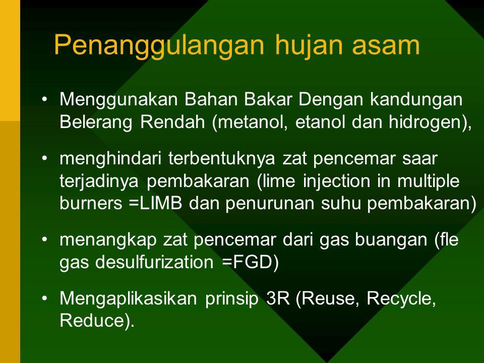 Penanggulangan hujan asam •Menggunakan Bahan Bakar Dengan kandungan Belerang Rendah (metanol, etanol dan hidrogen), •menghindari terbentuknya zat penc