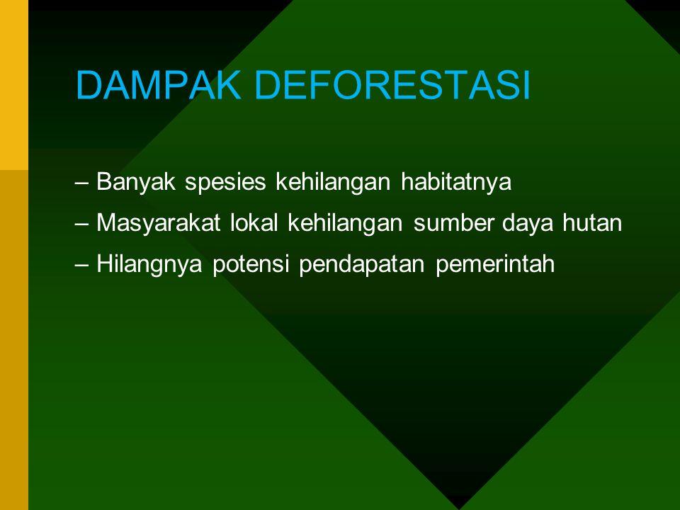 DAMPAK DEFORESTASI –Banyak spesies kehilangan habitatnya –Masyarakat lokal kehilangan sumber daya hutan –Hilangnya potensi pendapatan pemerintah