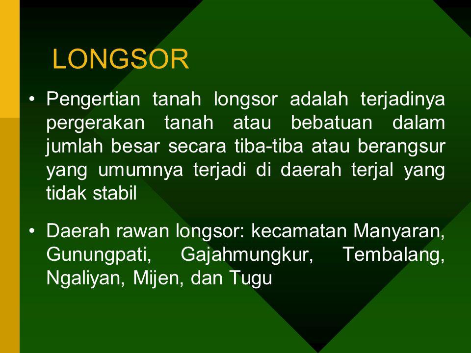 LONGSOR •Pengertian tanah longsor adalah terjadinya pergerakan tanah atau bebatuan dalam jumlah besar secara tiba-tiba atau berangsur yang umumnya ter