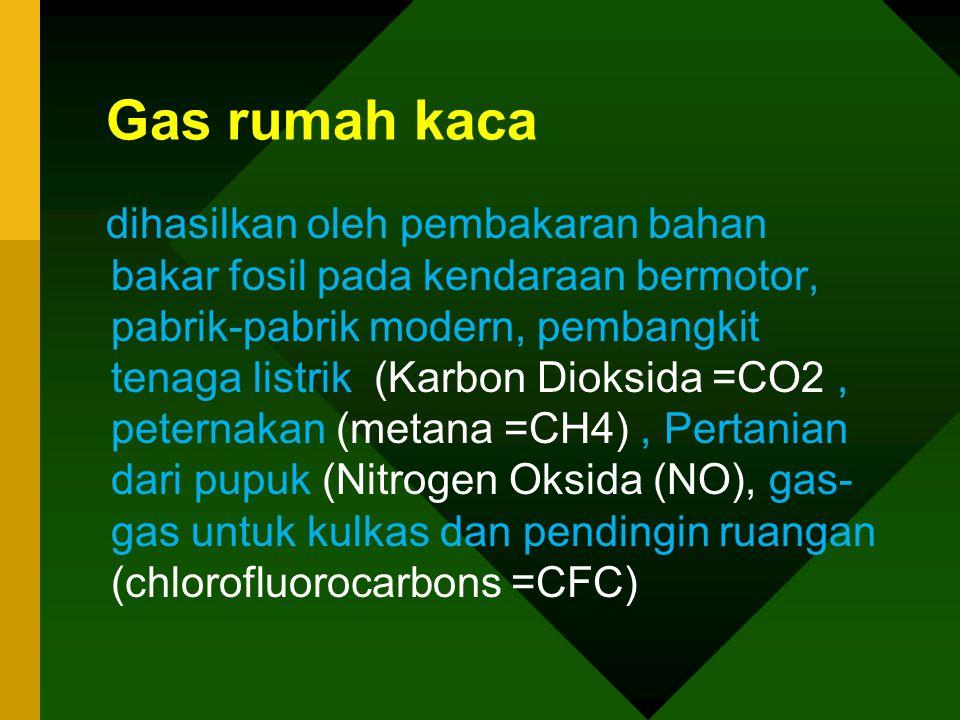 Gas rumah kaca dihasilkan oleh pembakaran bahan bakar fosil pada kendaraan bermotor, pabrik-pabrik modern, pembangkit tenaga listrik (Karbon Dioksida