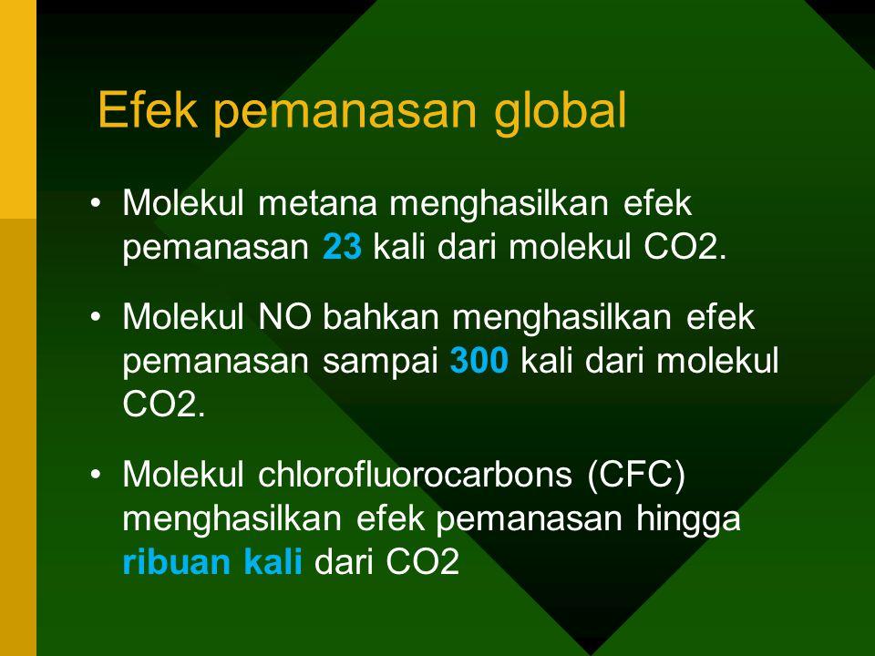 Efek pemanasan global •Molekul metana menghasilkan efek pemanasan 23 kali dari molekul CO2. •Molekul NO bahkan menghasilkan efek pemanasan sampai 300