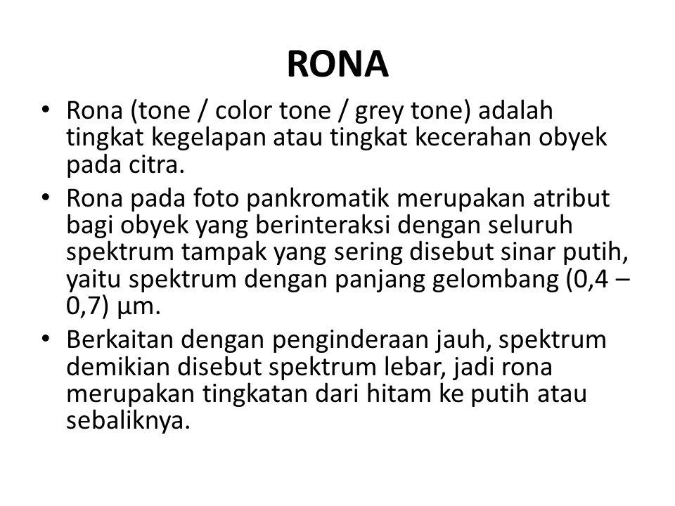 RONA • Rona (tone / color tone / grey tone) adalah tingkat kegelapan atau tingkat kecerahan obyek pada citra. • Rona pada foto pankromatik merupakan a