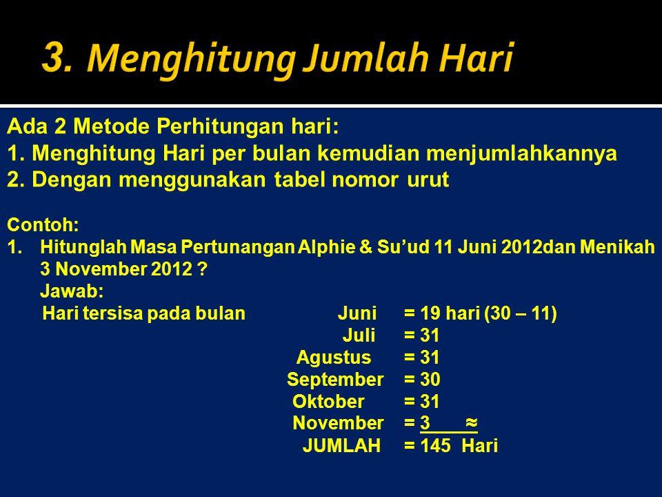 Ada 2 Metode Perhitungan hari: 1.Menghitung Hari per bulan kemudian menjumlahkannya 2.Dengan menggunakan tabel nomor urut Contoh: 1.Hitunglah Masa Pertunangan Alphie & Su'ud 11 Juni 2012dan Menikah 3 November 2012 .