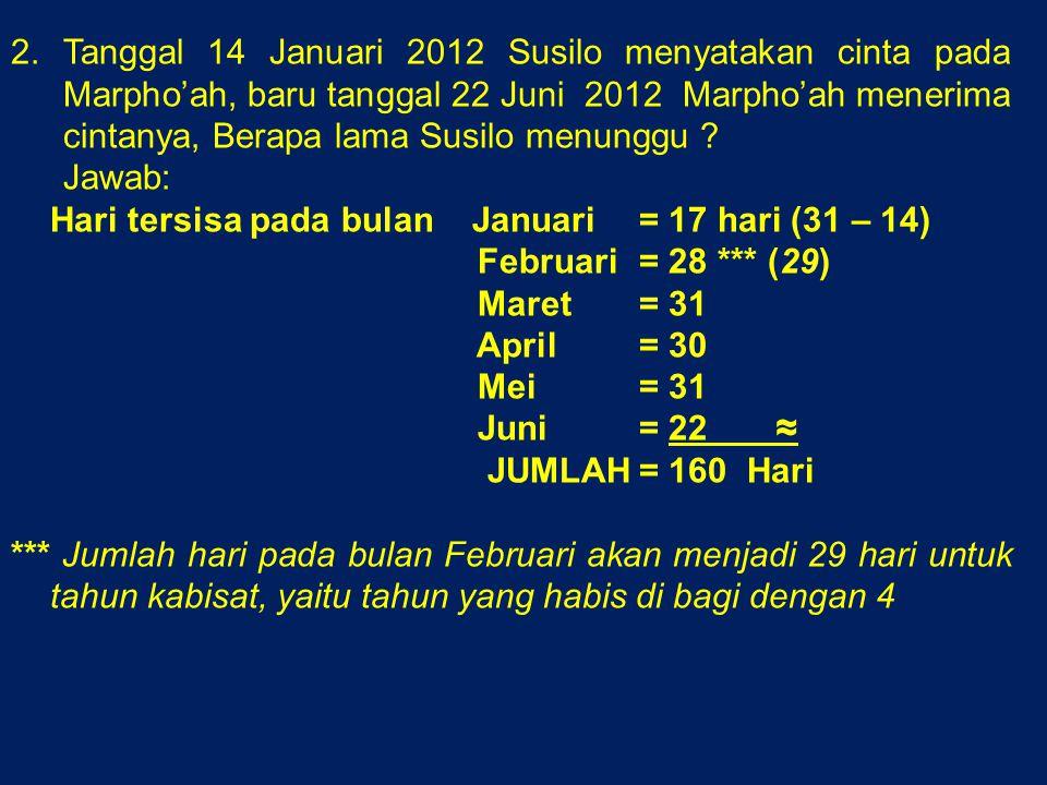 2.Tanggal 14 Januari 2012 Susilo menyatakan cinta pada Marpho'ah, baru tanggal 22 Juni 2012 Marpho'ah menerima cintanya, Berapa lama Susilo menunggu .
