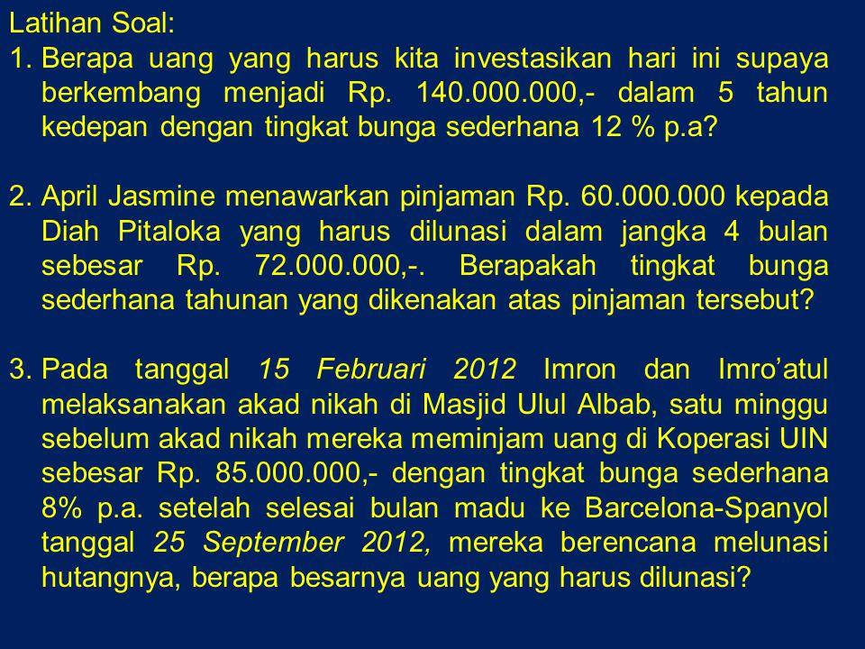 Latihan Soal: 1.Berapa uang yang harus kita investasikan hari ini supaya berkembang menjadi Rp.