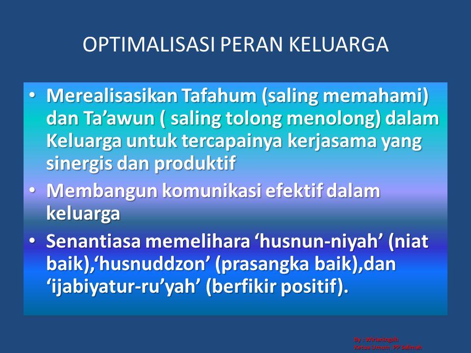 OPTIMALISASI PERAN KELUARGA • Merealisasikan Tafahum (saling memahami) dan Ta'awun ( saling tolong menolong) dalam Keluarga untuk tercapainya kerjasam