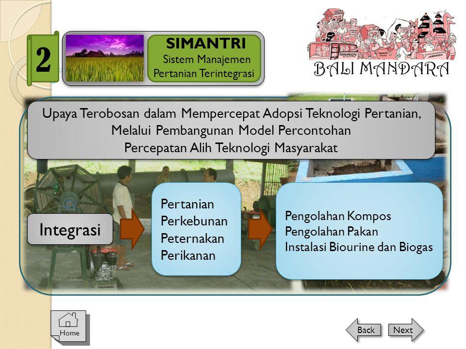 BALI MANDARA SIMANTRI Sistem Manajemen Pertanian Terintegrasi 2 Home Next Back Integrasi Upaya Terobosan dalam Mempercepat Adopsi Teknologi Pertanian,