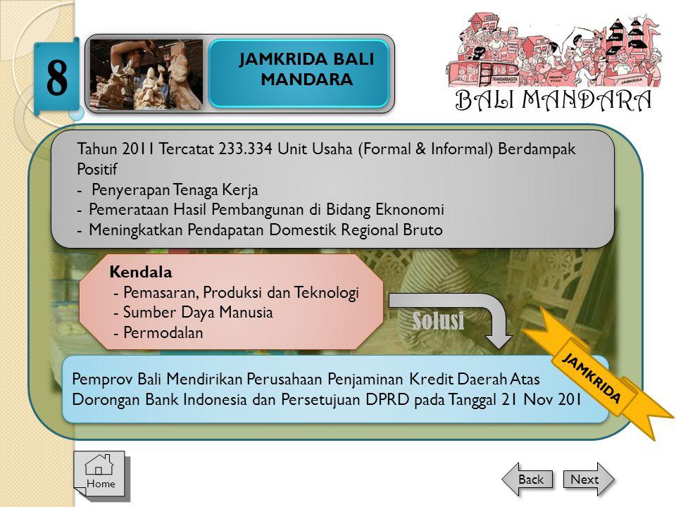 BALI MANDARA JAMKRIDA BALI MANDARA 8 Home Next Back Tahun 2011 Tercatat 233.334 Unit Usaha (Formal & Informal) Berdampak Positif - Penyerapan Tenaga K