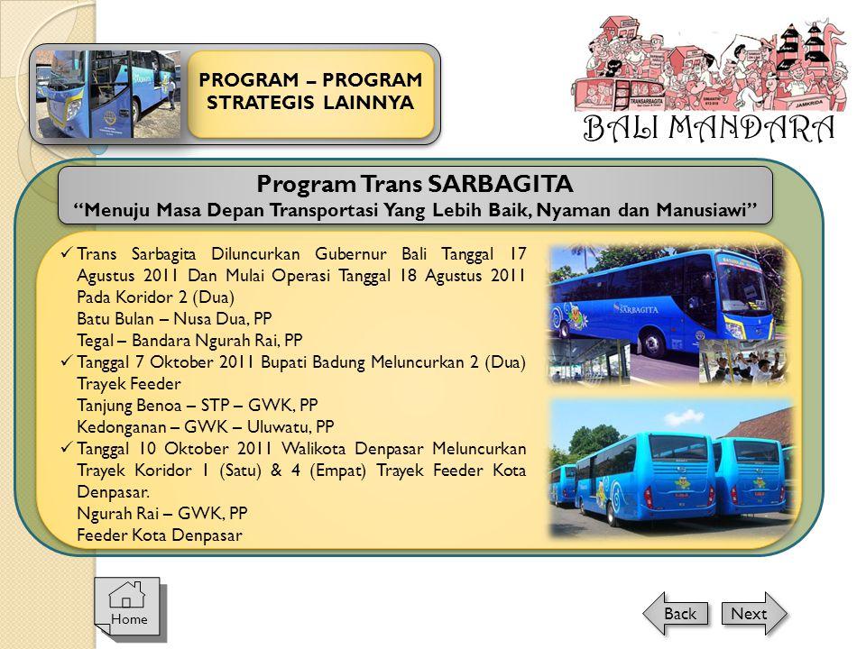 """BALI MANDARA PROGRAM – PROGRAM STRATEGIS LAINNYA Home Next Back Program Trans SARBAGITA """"Menuju Masa Depan Transportasi Yang Lebih Baik, Nyaman dan Ma"""