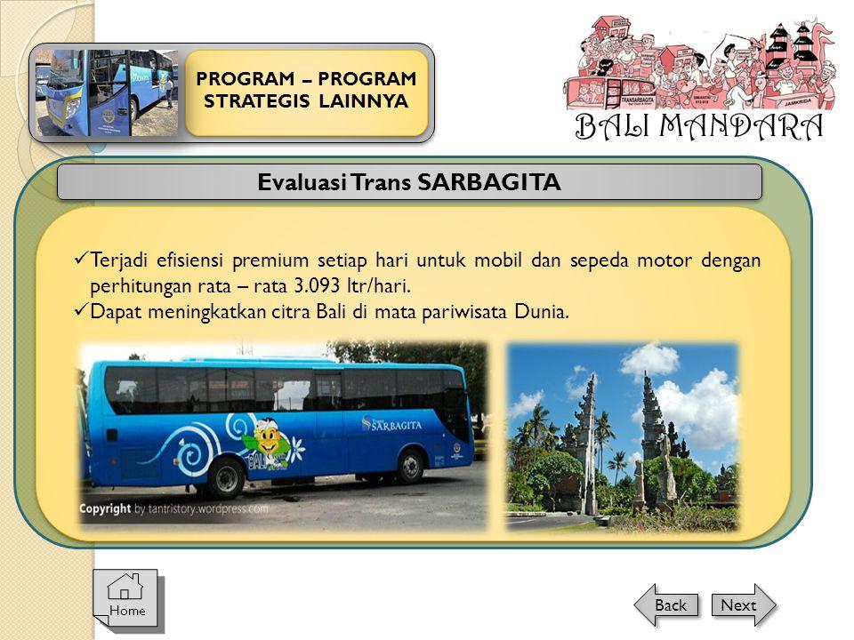 BALI MANDARA PROGRAM – PROGRAM STRATEGIS LAINNYA Home Next Back Evaluasi Trans SARBAGITA  Terjadi efisiensi premium setiap hari untuk mobil dan seped