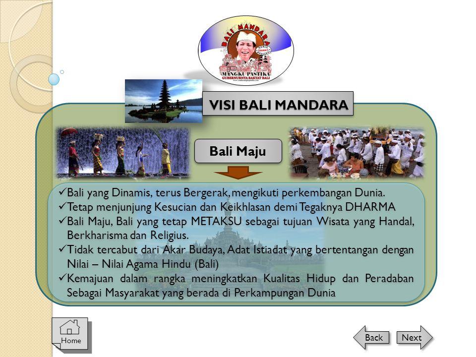 Home Next Back VISI BALI MANDARA Bali Maju  Bali yang Dinamis, terus Bergerak, mengikuti perkembangan Dunia.