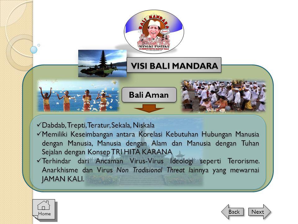 Home Next Back VISI BALI MANDARA Bali Aman  Dabdab, Trepti, Teratur, Sekala, Niskala  Memiliki Keseimbangan antara Korelasi Kebutuhan Hubungan Manus