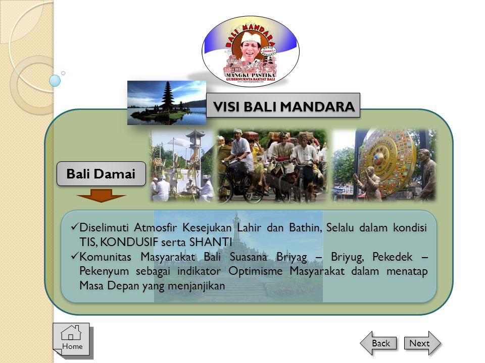 Home Next Back Bali Damai VISI BALI MANDARA  Diselimuti Atmosfir Kesejukan Lahir dan Bathin, Selalu dalam kondisi TIS, KONDUSIF serta SHANTI  Komuni