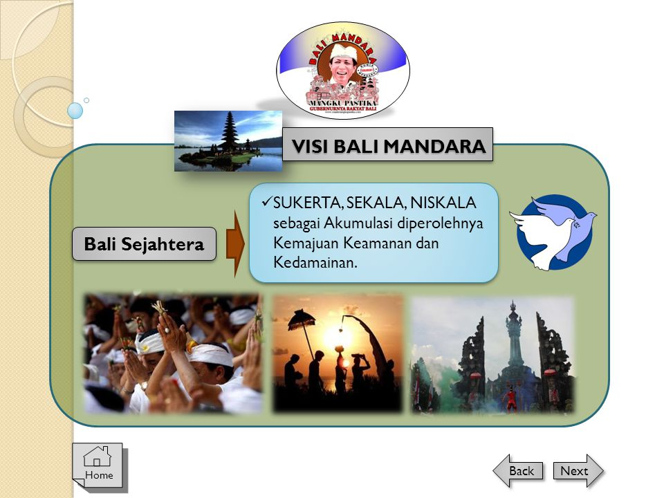Home Next Back Bali Sejahtera  SUKERTA, SEKALA, NISKALA sebagai Akumulasi diperolehnya Kemajuan Keamanan dan Kedamainan. VISI BALI MANDARA