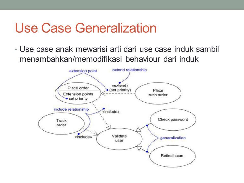 Use Case Generalization • Use case anak mewarisi arti dari use case induk sambil menambahkan/memodifikasi behaviour dari induk