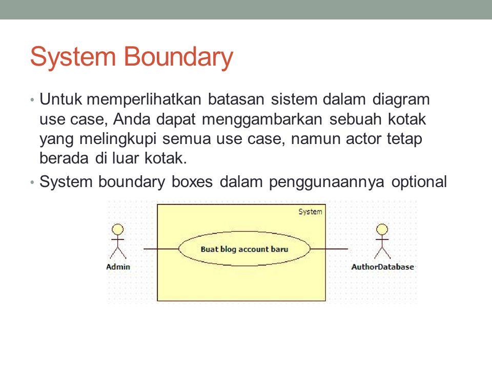 System Boundary • Untuk memperlihatkan batasan sistem dalam diagram use case, Anda dapat menggambarkan sebuah kotak yang melingkupi semua use case, namun actor tetap berada di luar kotak.