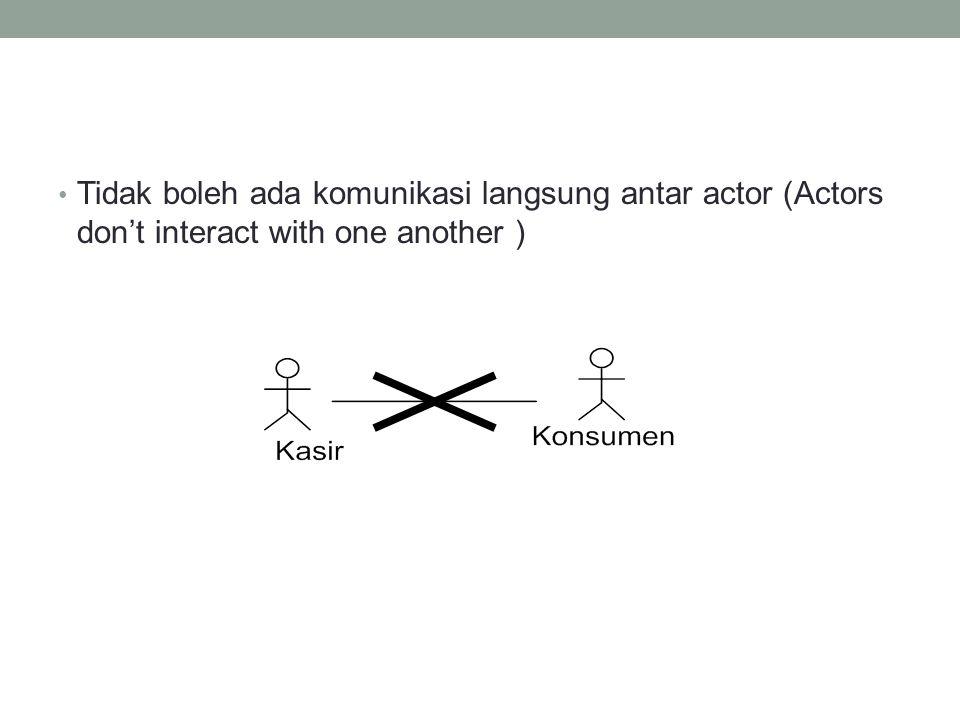 • Tidak boleh ada komunikasi langsung antar actor (Actors don't interact with one another )