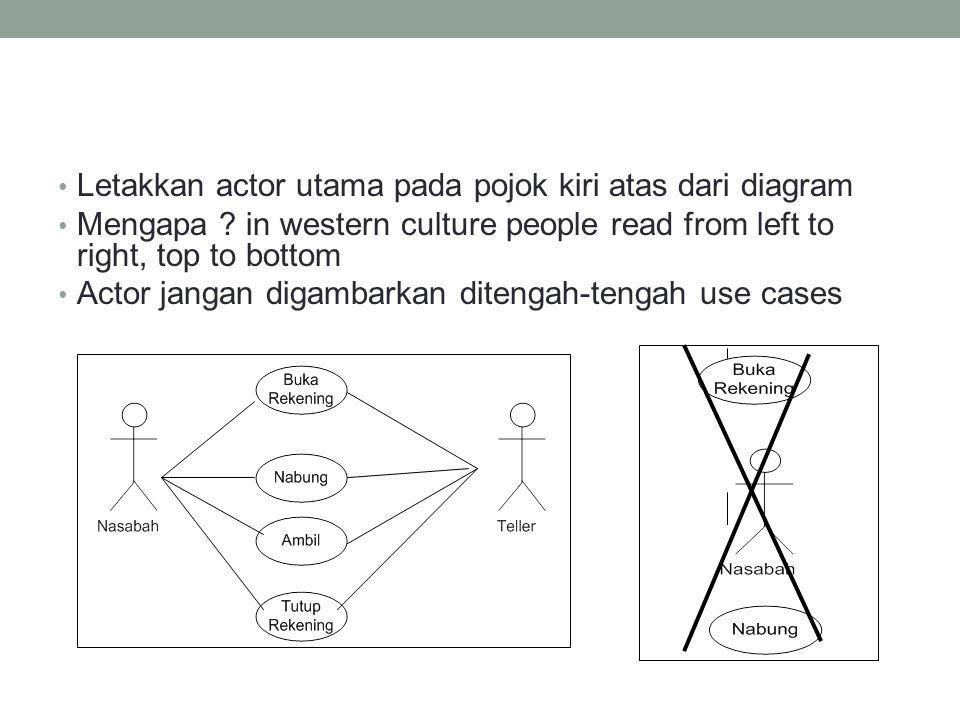 • Letakkan actor utama pada pojok kiri atas dari diagram • Mengapa .
