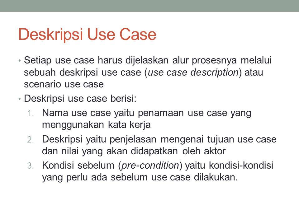 Deskripsi Use Case • Setiap use case harus dijelaskan alur prosesnya melalui sebuah deskripsi use case (use case description) atau scenario use case • Deskripsi use case berisi: 1.