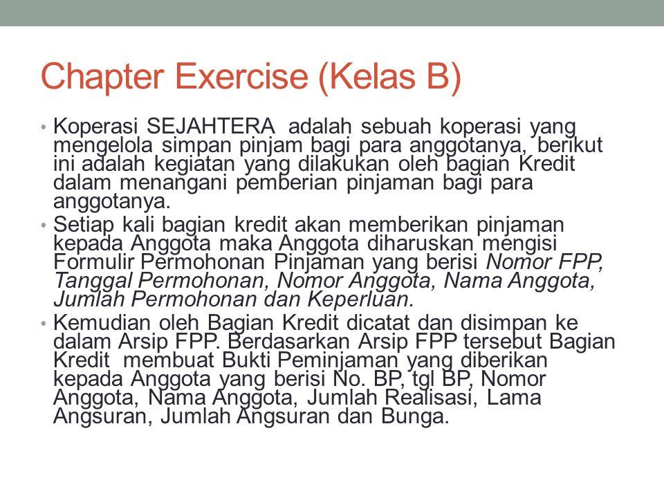 Chapter Exercise (Kelas B) • Koperasi SEJAHTERA adalah sebuah koperasi yang mengelola simpan pinjam bagi para anggotanya, berikut ini adalah kegiatan yang dilakukan oleh bagian Kredit dalam menangani pemberian pinjaman bagi para anggotanya.