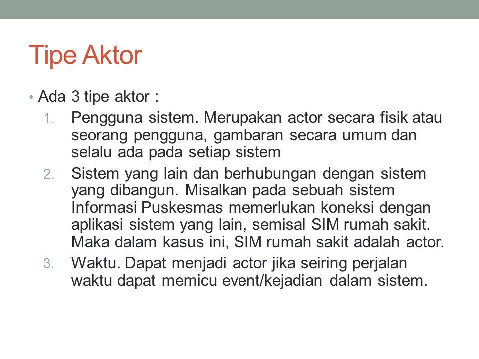 Tipe Aktor • Ada 3 tipe aktor : 1.Pengguna sistem.