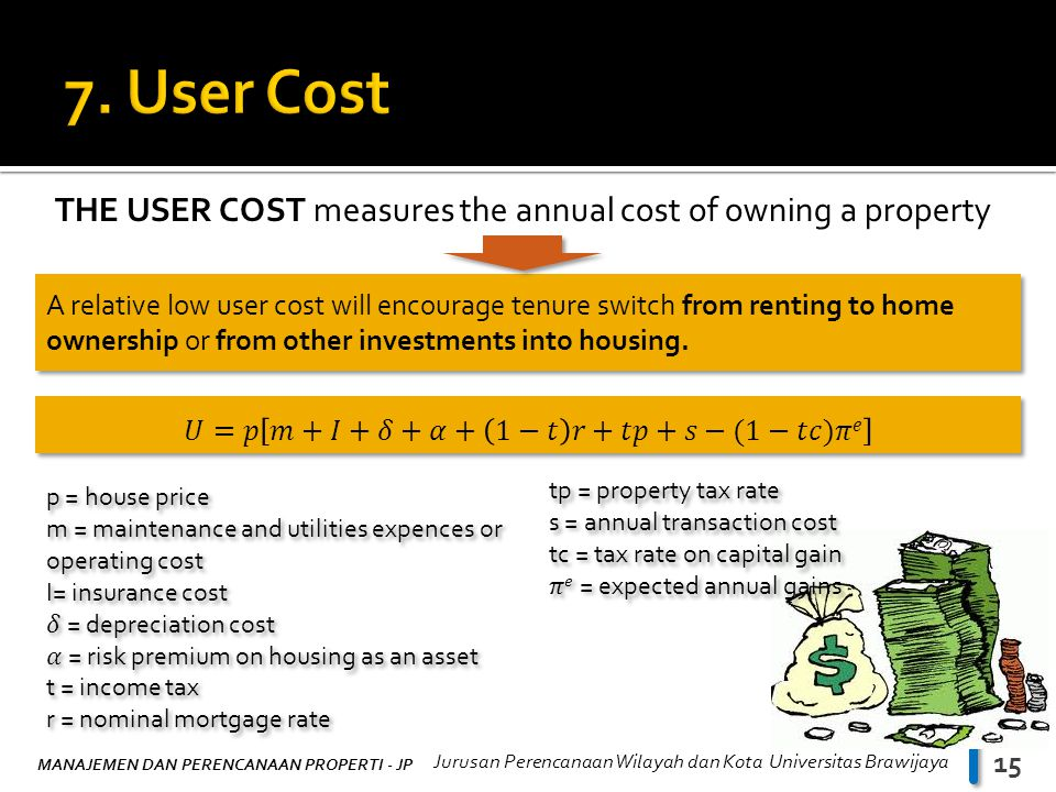 MANAJEMEN DAN PERENCANAAN PROPERTI - JP Jurusan Perencanaan Wilayah dan Kota Universitas Brawijaya 15 THE USER COST measures the annual cost of owning a property A relative low user cost will encourage tenure switch from renting to home ownership or from other investments into housing.