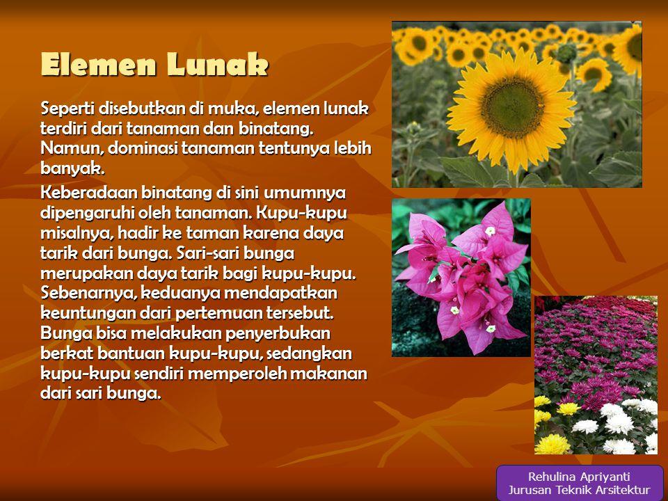 Elemen Lunak Seperti disebutkan di muka, elemen lunak terdiri dari tanaman dan binatang.