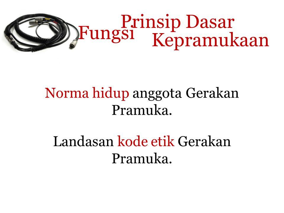 Prinsip Dasar Kepramukaan Norma hidup anggota Gerakan Pramuka.