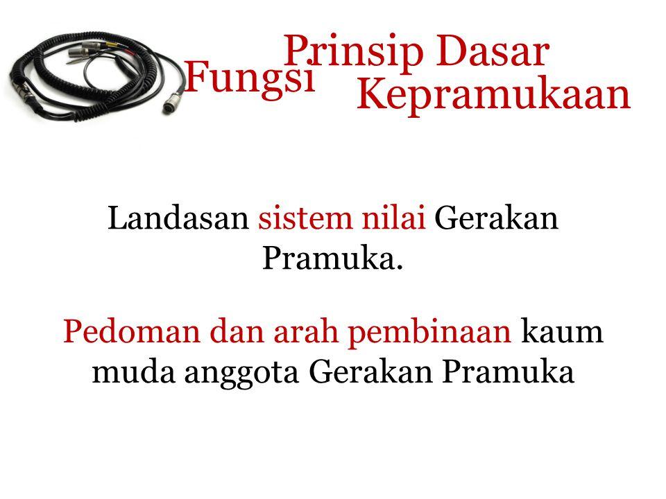 Prinsip Dasar Kepramukaan Landasan sistem nilai Gerakan Pramuka.