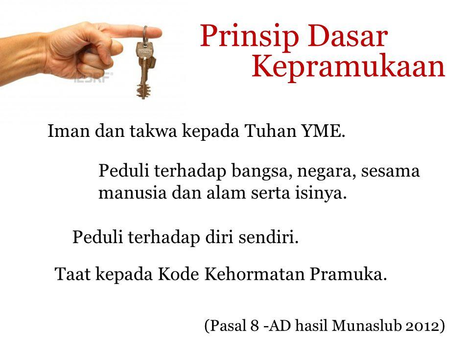 Prinsip Dasar Kepramukaan Iman dan takwa kepada Tuhan YME.