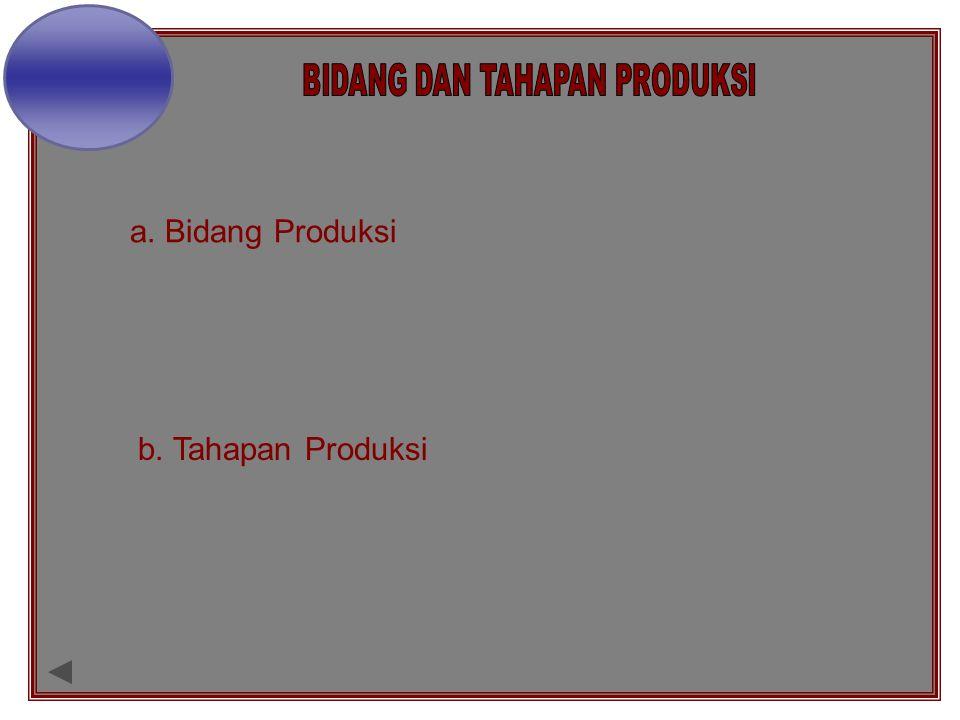 a. Bidang Produksi b. Tahapan Produksi