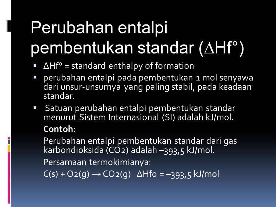 Perubahan entalpi pembentukan standar (∆Hf°)  ∆Hf° = standard enthalpy of formation  perubahan entalpi pada pembentukan 1 mol senyawa dari unsur-uns
